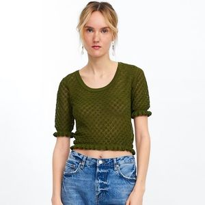 ZARA Textured Cropped Sweater Top NWT S, M, L GRN